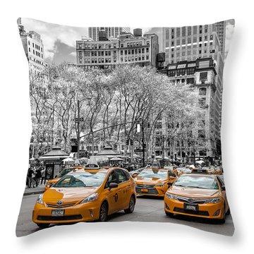 City Of Cabs Throw Pillow by Az Jackson