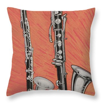 Clarinet And Giant Boehm Bass Throw Pillow by American School