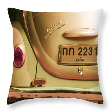Classic Vw Beetle In Thailand Throw Pillow by Georgia Fowler