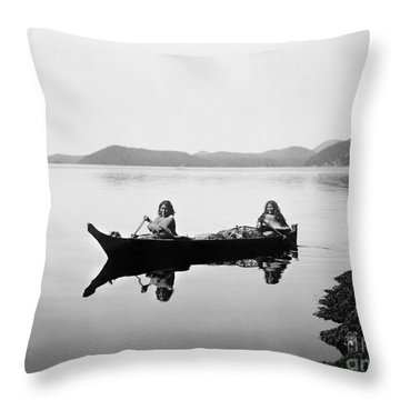 Clayoquot Canoe, C1910 Throw Pillow by Granger