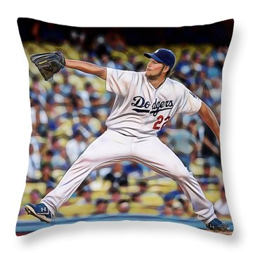 Clayton Kershaw Baseball Throw Pillow by Marvin Blaine