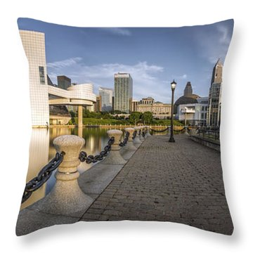 Cleveland Panorama Throw Pillow by James Dean