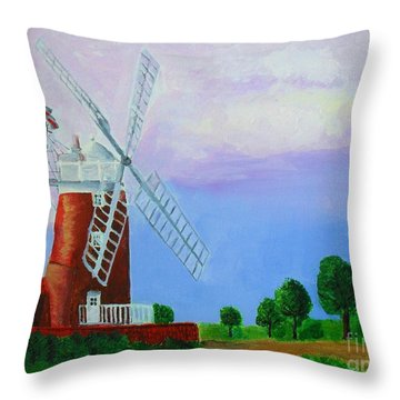 Throw Pillow featuring the painting Cley Mill by Rodney Campbell