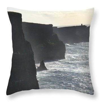 Cliffs Of Moher 1 Throw Pillow by Mike McGlothlen