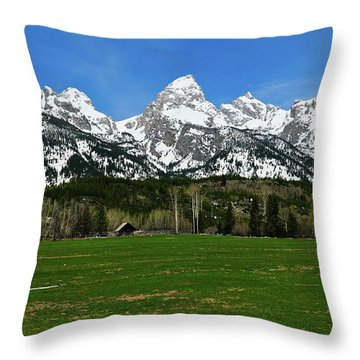 Climbers Ranch In Spring Throw Pillow by Greg Norrell