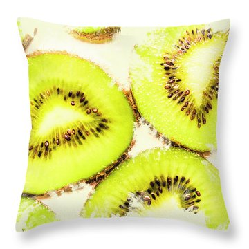 Close Up Of Kiwi Slices Throw Pillow by Jorgo Photography - Wall Art Gallery