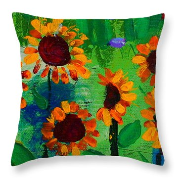 Closeup From Day And Night In A Sunflower Field Throw Pillow by Angela Annas