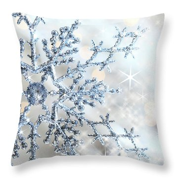 Closeup Of Snowflake Throw Pillow by Sandra Cunningham
