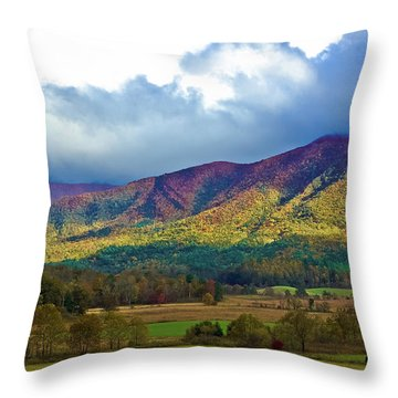 Cloud Covered Peaks Throw Pillow by DigiArt Diaries by Vicky B Fuller