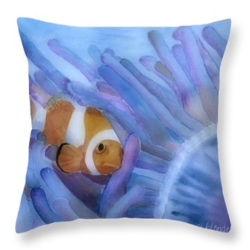 Clownfish And The Sea Anemone Throw Pillow by Arline Wagner