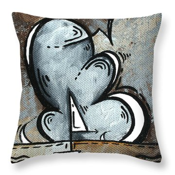 Coastal Art Contemporary Sailboat Painting Whimsical Design Silver Sea II By Madart Throw Pillow by Megan Duncanson