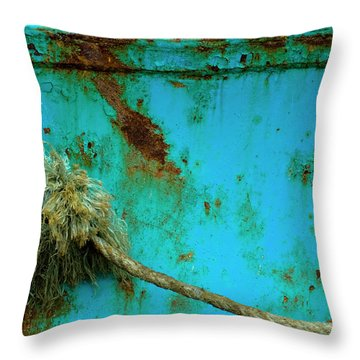 Throw Pillow featuring the photograph Coastal Colors - Boat Rust by Frank Tschakert