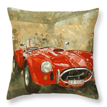 Cobra At Brooklands Throw Pillow by Peter Miller