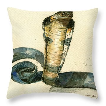 Cobra Snake Watercolor Painting Art Wall Throw Pillow by Juan  Bosco