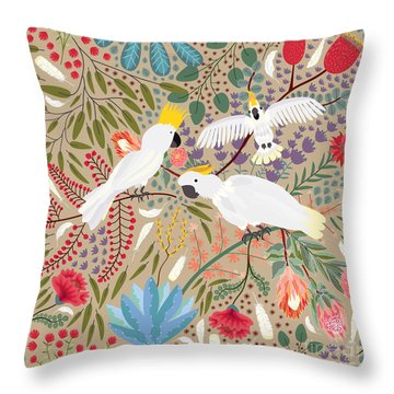 Cockatoo Envy Throw Pillow by Darlene Seale