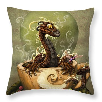 Coffee Dragon Throw Pillow by Stanley Morrison