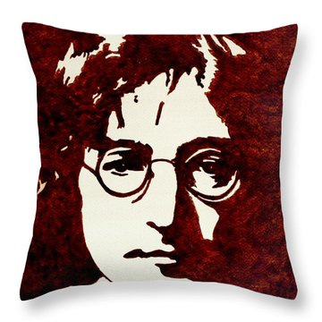 Coffee Painting John Lennon Throw Pillow by Georgeta  Blanaru