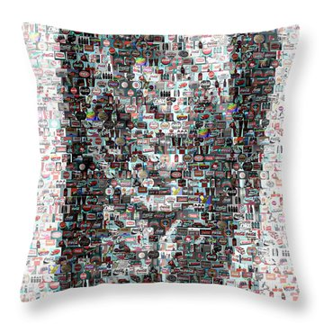 Coke Can Mosaic Throw Pillow by Paul Van Scott
