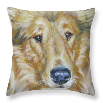 Collie Close Up Throw Pillow by Lee Ann Shepard