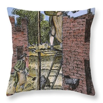 Colonial Bricklayer, 18th C Throw Pillow by Granger