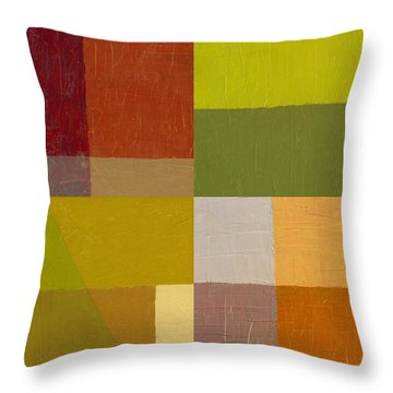 Color Study With Orange And Green Throw Pillow by Michelle Calkins