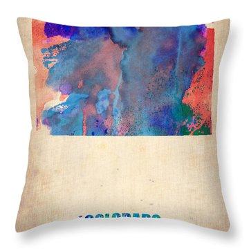 Colorado Watercolor Map Throw Pillow by Naxart Studio