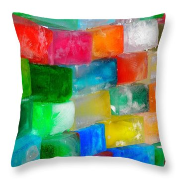Colored Ice Bricks Throw Pillow by Juergen Weiss