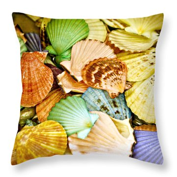 Colored Shells Throw Pillow by Marilyn Hunt