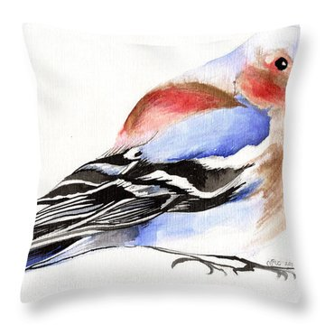 Colorful Chaffinch Throw Pillow by Nancy Moniz