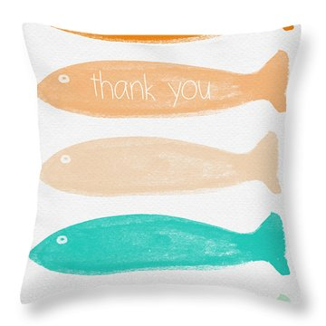 Colorful Fish Thank You Card Throw Pillow by Linda Woods