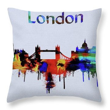 Colorful London Skyline Silhouette Throw Pillow by Dan Sproul