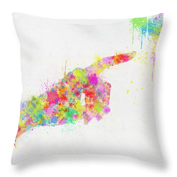 Colorful Painting Of Hand Pointing Finger Throw Pillow by Setsiri Silapasuwanchai