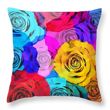 Colorful Roses Design Throw Pillow by Setsiri Silapasuwanchai