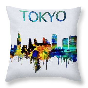 Colorful Tokyo Skyline Silhouette Throw Pillow by Dan Sproul