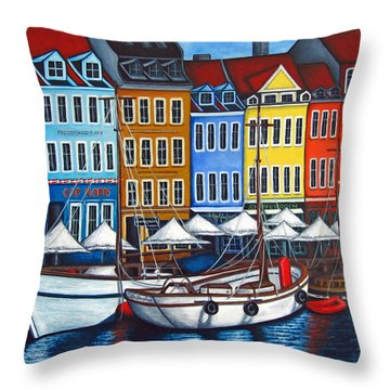 Colours Of Nyhavn Throw Pillow by Lisa  Lorenz
