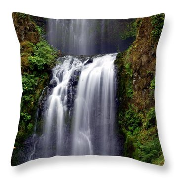 Columba River Gorge Falls 3 Throw Pillow by Marty Koch