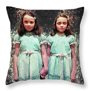 Come Play With Us - The Shining Twins Throw Pillow by Taylan Apukovska