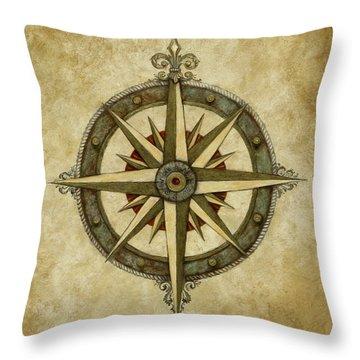 Compass Rose Throw Pillow by Judy Merrell