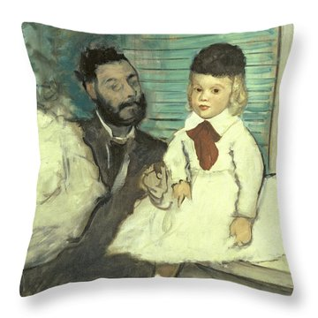 Comte Le Pic And His Sons Throw Pillow by Edgar Degas