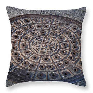 Con Ed Sewer Cap Throw Pillow by Rob Hans