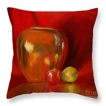 Copper Pot And Fruit Throw Pillow by Mary Benke