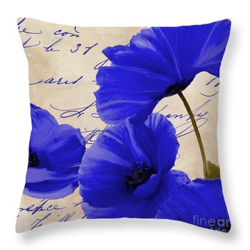 Coquelicots Bleue Throw Pillow by Mindy Sommers