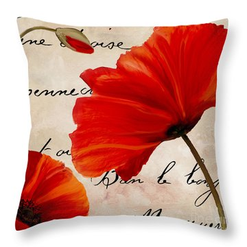 Coquelicots Rouge II Throw Pillow by Mindy Sommers