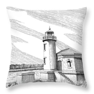 Coquille River Lighthouse Throw Pillow by Lawrence Tripoli