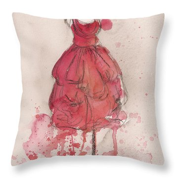 Coral Pink Party Dress Throw Pillow by Lauren Maurer
