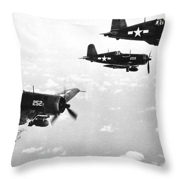 Corsair Planes  Us Airforce Throw Pillow by American School