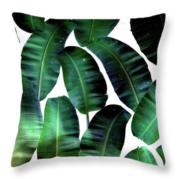 Cosmic Banana Leaves Throw Pillow by Uma Gokhale