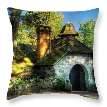 Cottage - The Little Cottage Throw Pillow by Mike Savad