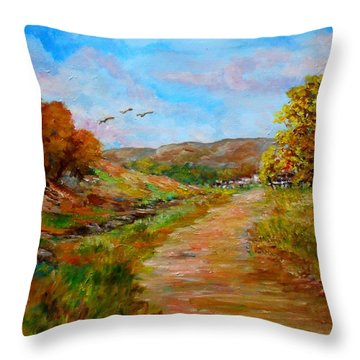 Country Road 2 Throw Pillow by Constantinos Charalampopoulos