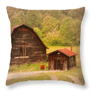 Country Shack Throw Pillow by Itai Minovitz
